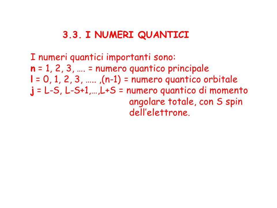 3.3. I NUMERI QUANTICI I numeri quantici importanti sono: n = 1, 2, 3, …. = numero quantico principale l = 0, 1, 2, 3, …..,(n-1) = numero quantico orb