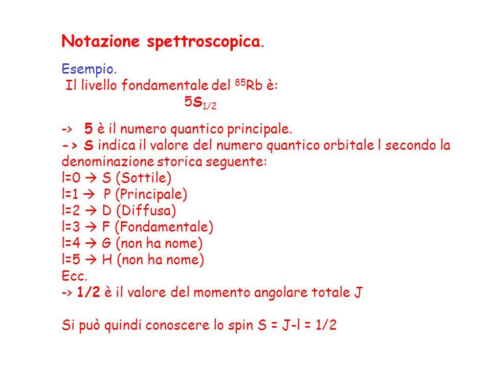 Notazione spettroscopica. Esempio. Il livello fondamentale del 85 Rb è: 5S 1/2 -> 5 è il numero quantico principale. -> S indica il valore del numero