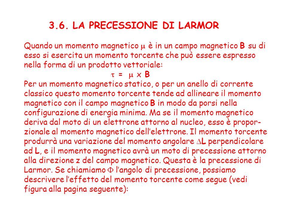 3.6. LA PRECESSIONE DI LARMOR Quando un momento magnetico è in un campo magnetico B su di esso si esercita un momento torcente che può essere espresso