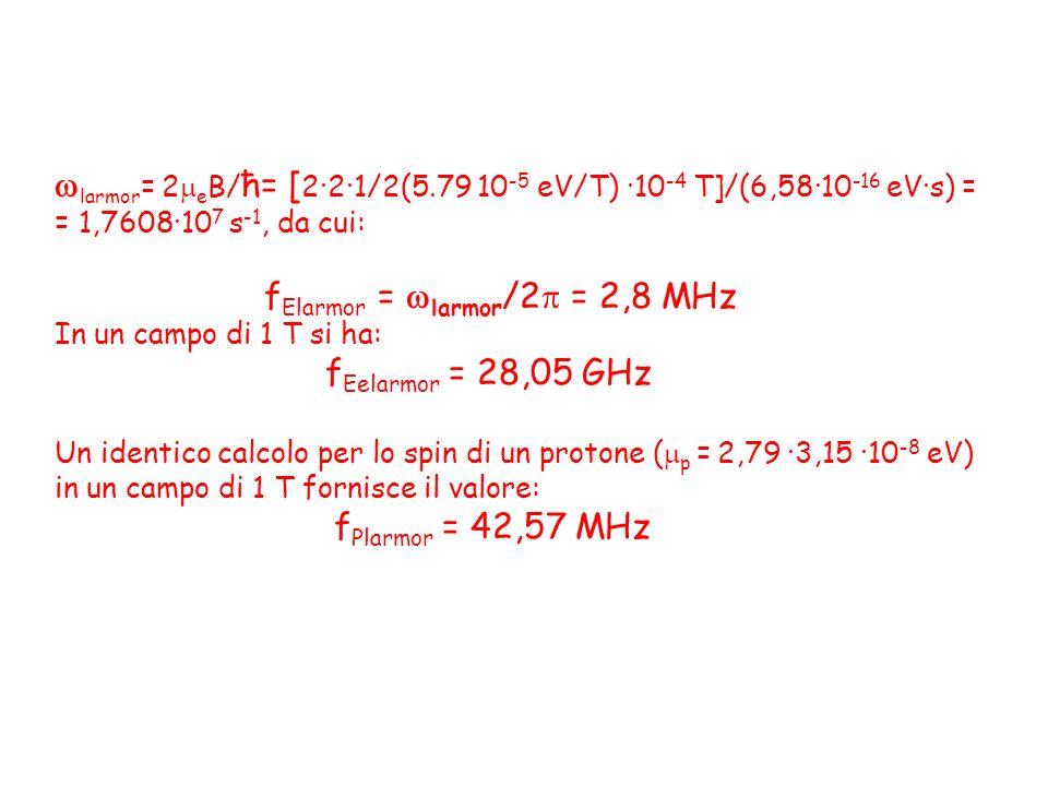 larmor = 2 e B/ ħ= [ 2·2·1/2(5.79 10 -5 eV/T) ·10 -4 T]/(6,58·10 -16 eV·s) = = 1,7608·10 7 s -1, da cui: f Elarmor = larmor /2 = 2,8 MHz In un campo d
