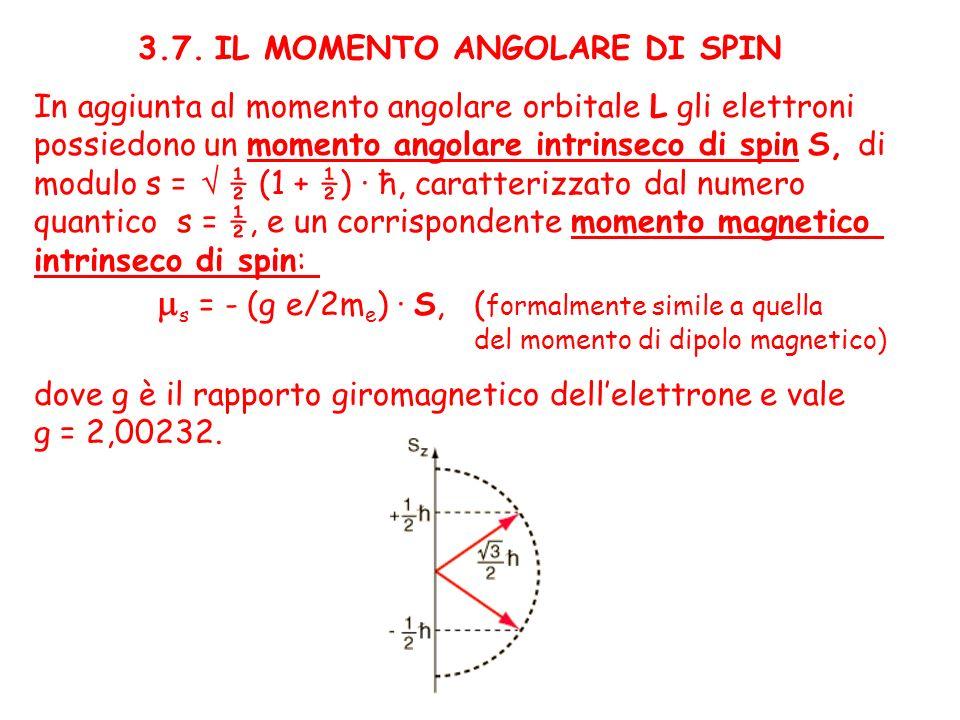 3.7. IL MOMENTO ANGOLARE DI SPIN In aggiunta al momento angolare orbitale L gli elettroni possiedono un momento angolare intrinseco di spin S, di modu