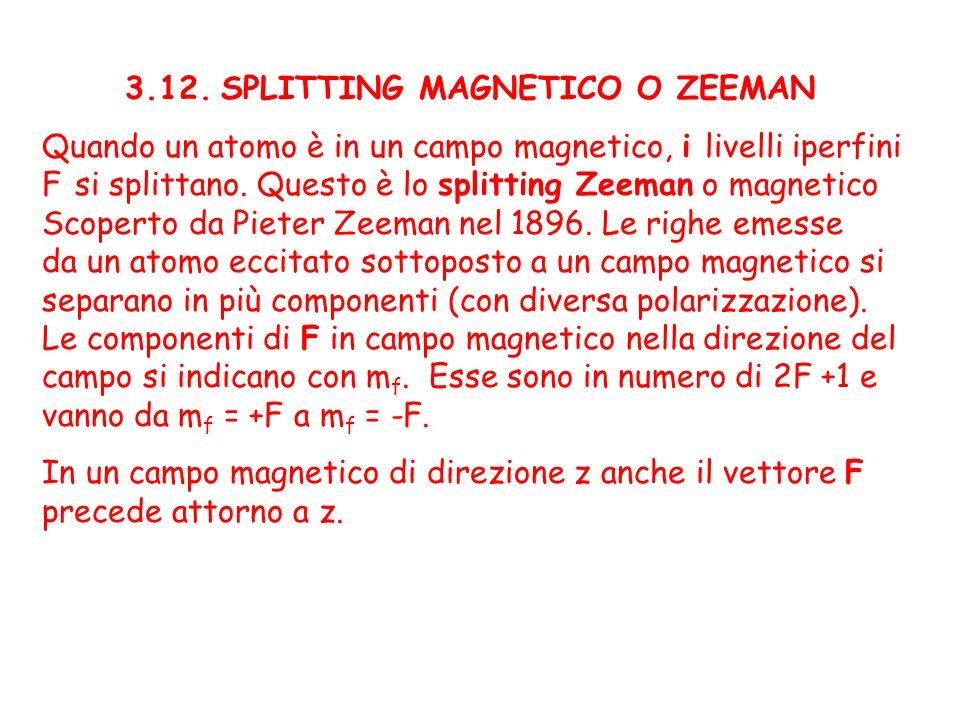 3.12. SPLITTING MAGNETICO O ZEEMAN Quando un atomo è in un campo magnetico, i livelli iperfini F si splittano. Questo è lo splitting Zeeman o magnetic