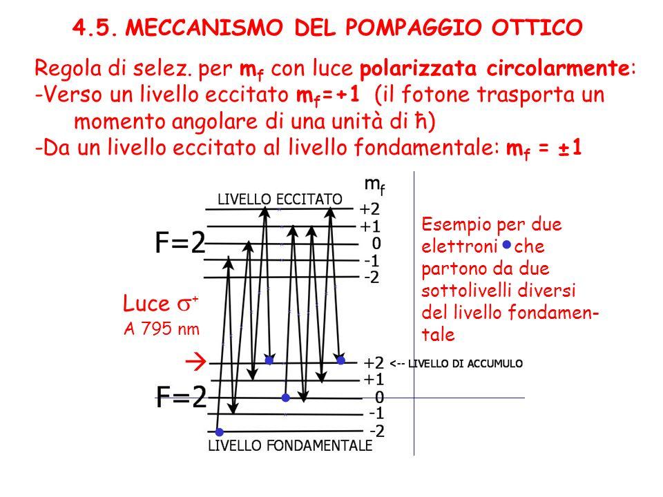4.5. MECCANISMO DEL POMPAGGIO OTTICO Regola di selez. per m f con luce polarizzata circolarmente: -Verso un livello eccitato m f =+1 (il fotone traspo