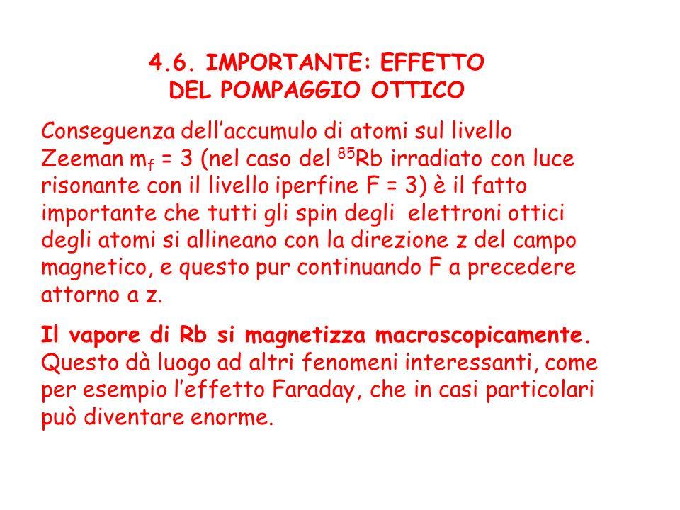 4.6. IMPORTANTE: EFFETTO DEL POMPAGGIO OTTICO Conseguenza dellaccumulo di atomi sul livello Zeeman m f = 3 (nel caso del 85 Rb irradiato con luce riso