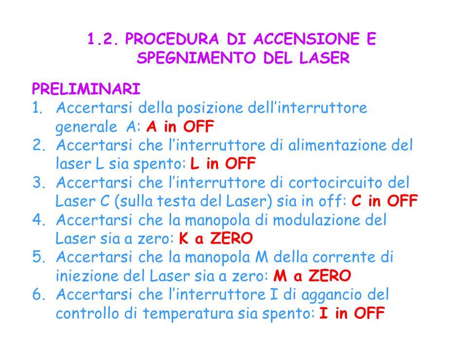 7.Accertarsi che linterruttore di inserzione della modulazione del Laser sia in off: B in OFF.