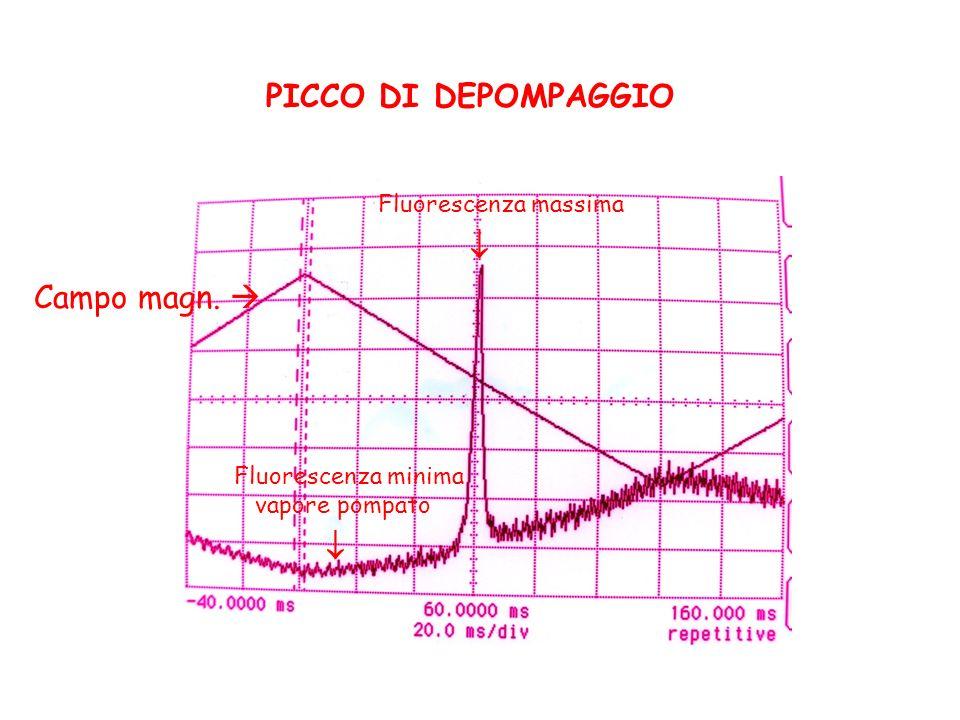 PICCO DI DEPOMPAGGIO Campo magn. Fluorescenza massima Fluorescenza minima vapore pompato
