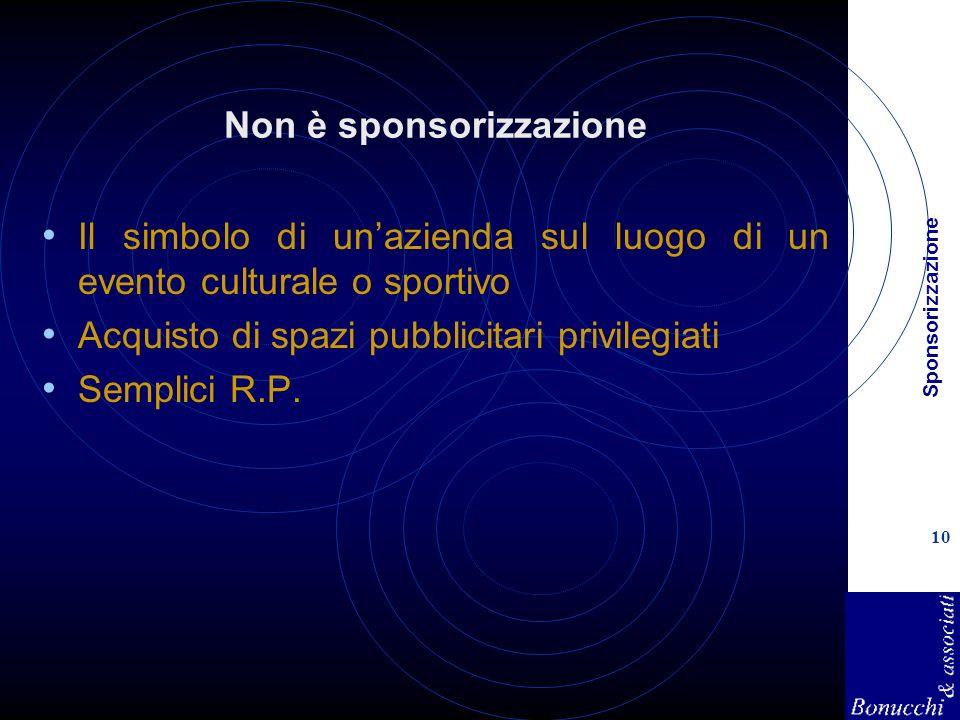 Sponsorizzazione 10 Non è sponsorizzazione Il simbolo di unazienda sul luogo di un evento culturale o sportivo Acquisto di spazi pubblicitari privilegiati Semplici R.P.