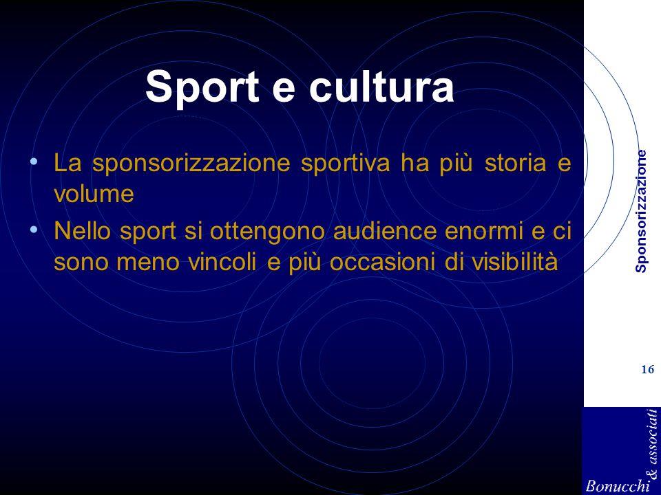 Sponsorizzazione 16 Sport e cultura La sponsorizzazione sportiva ha più storia e volume Nello sport si ottengono audience enormi e ci sono meno vincoli e più occasioni di visibilità