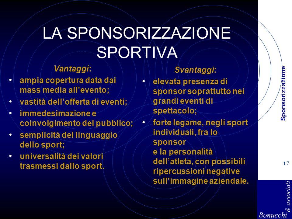 Sponsorizzazione 17 LA SPONSORIZZAZIONE SPORTIVA Vantaggi: ampia copertura data dai mass media allevento; vastità dellofferta di eventi; immedesimazio