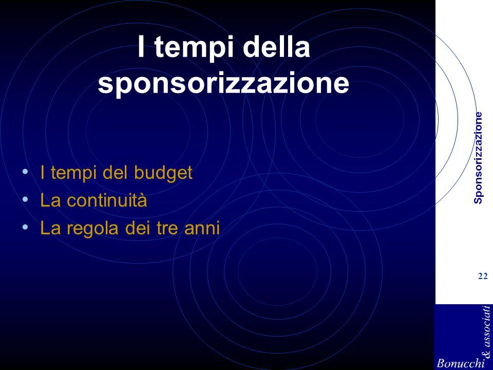 Sponsorizzazione 22 I tempi della sponsorizzazione I tempi del budget La continuità La regola dei tre anni