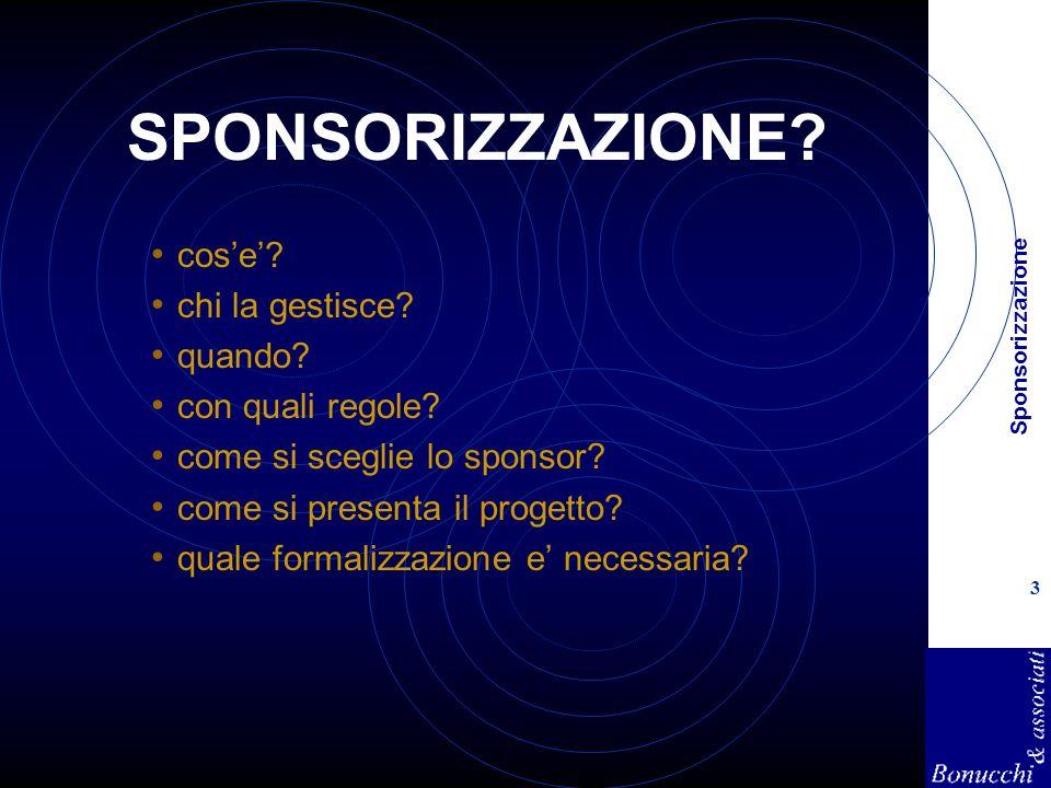 Sponsorizzazione 3 SPONSORIZZAZIONE? cose? chi la gestisce? quando? con quali regole? come si sceglie lo sponsor? come si presenta il progetto? quale