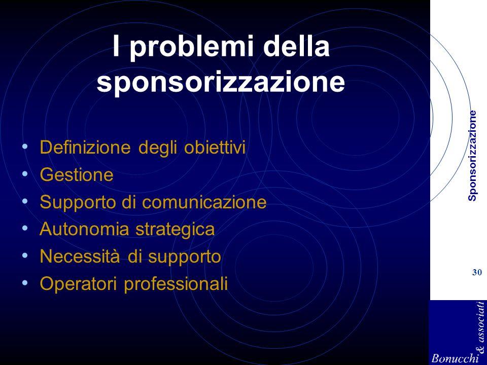 Sponsorizzazione 30 I problemi della sponsorizzazione Definizione degli obiettivi Gestione Supporto di comunicazione Autonomia strategica Necessità di supporto Operatori professionali