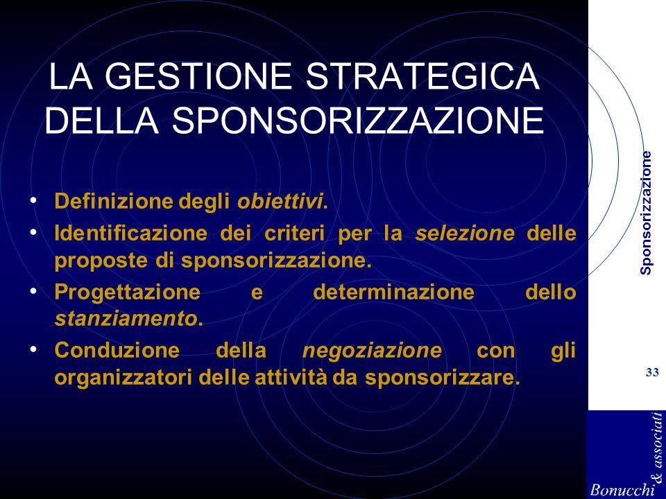 Sponsorizzazione 33 LA GESTIONE STRATEGICA DELLA SPONSORIZZAZIONE Definizione degli obiettivi. Identificazione dei criteri per la selezione delle prop