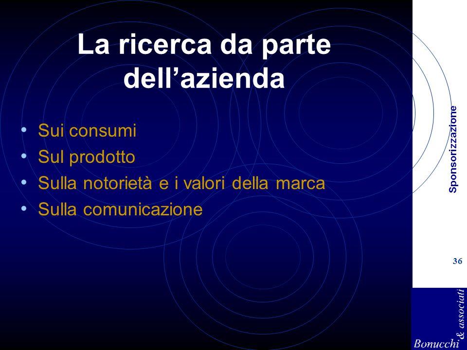 Sponsorizzazione 36 La ricerca da parte dellazienda Sui consumi Sul prodotto Sulla notorietà e i valori della marca Sulla comunicazione