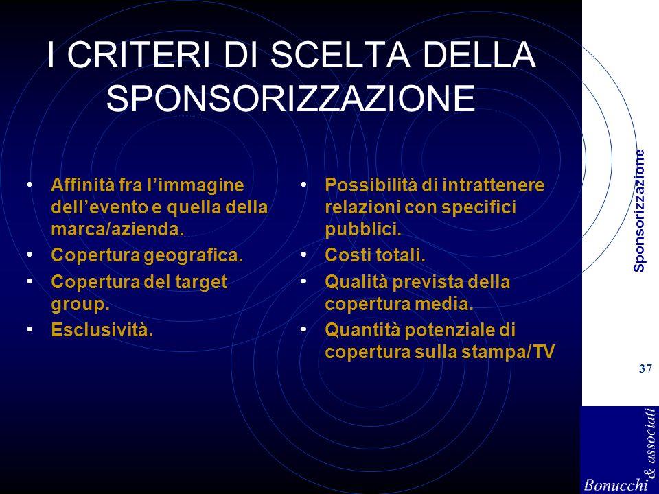 Sponsorizzazione 37 I CRITERI DI SCELTA DELLA SPONSORIZZAZIONE Affinità fra limmagine dellevento e quella della marca/azienda. Copertura geografica. C