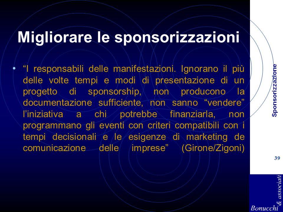 Sponsorizzazione 39 Migliorare le sponsorizzazioni I responsabili delle manifestazioni. Ignorano il più delle volte tempi e modi di presentazione di u