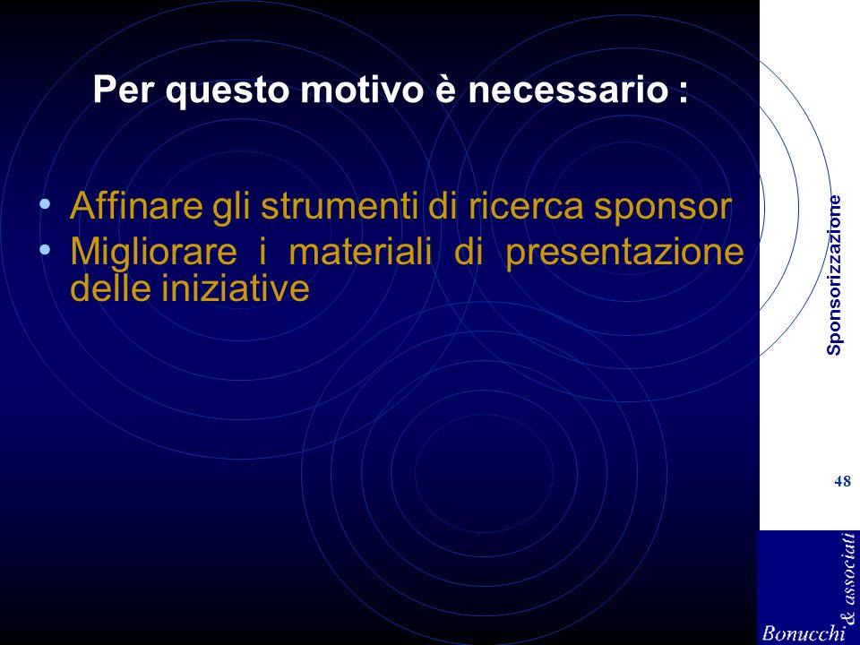 Sponsorizzazione 48 Per questo motivo è necessario : Affinare gli strumenti di ricerca sponsor Migliorare i materiali di presentazione delle iniziativ