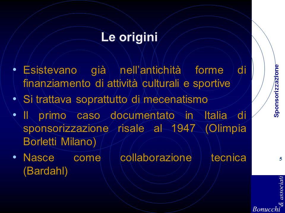 Sponsorizzazione 5 Le origini Esistevano già nellantichità forme di finanziamento di attività culturali e sportive Si trattava soprattutto di mecenati