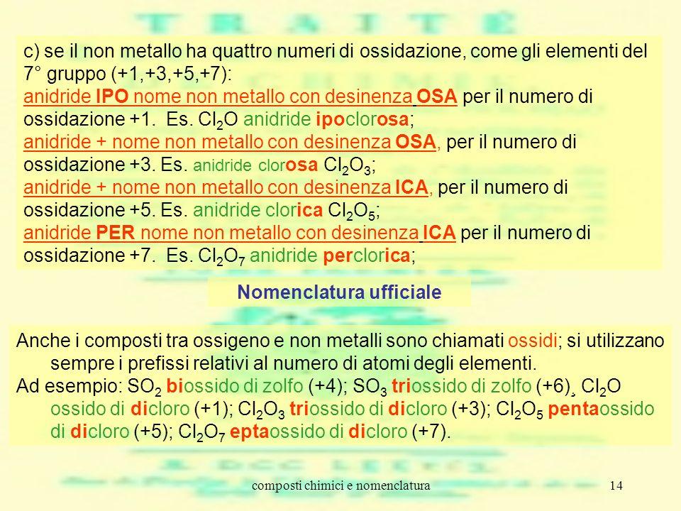 composti chimici e nomenclatura14 c) se il non metallo ha quattro numeri di ossidazione, come gli elementi del 7° gruppo (+1,+3,+5,+7): anidride IPO n