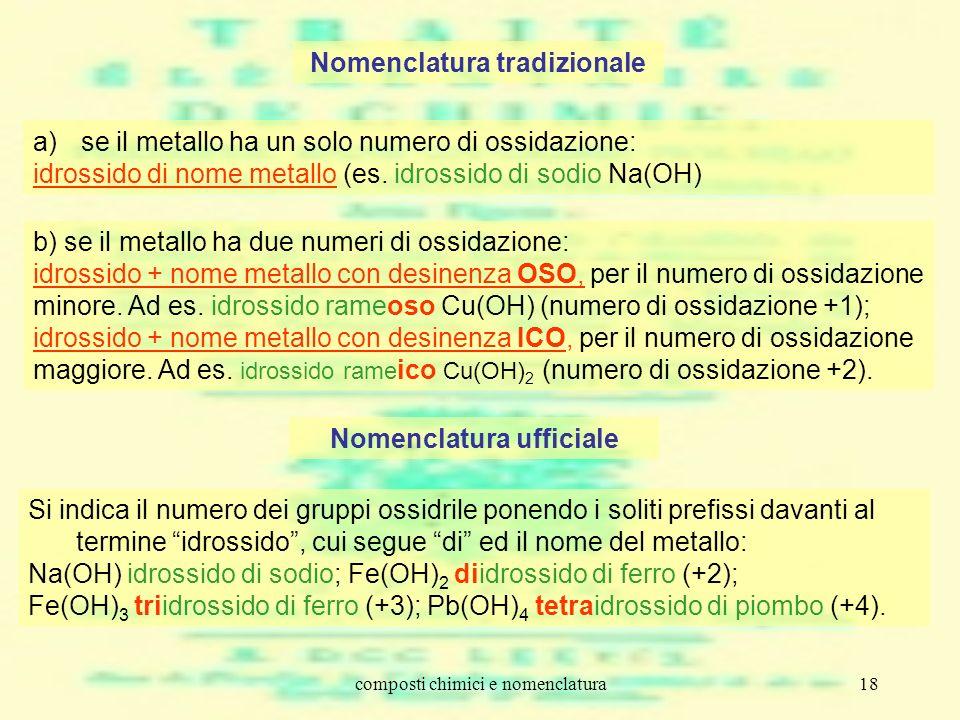 composti chimici e nomenclatura18 Nomenclatura tradizionale a)se il metallo ha un solo numero di ossidazione: idrossido di nome metallo (es. idrossido