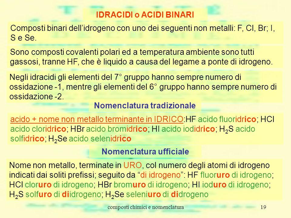 composti chimici e nomenclatura19 IDRACIDI o ACIDI BINARI Composti binari dellidrogeno con uno dei seguenti non metalli: F, Cl, Br; I, S e Se. Sono co