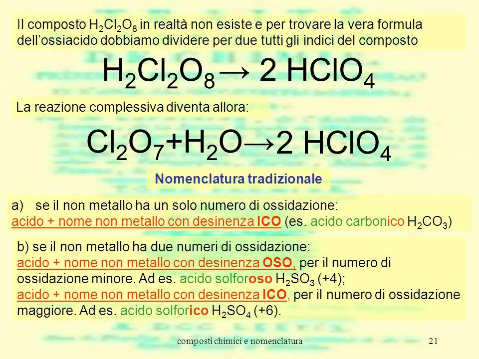 composti chimici e nomenclatura21 H 2 Cl 2 O 8 2 HClO 4 Il composto H 2 Cl 2 O 8 in realtà non esiste e per trovare la vera formula dellossiacido dobb