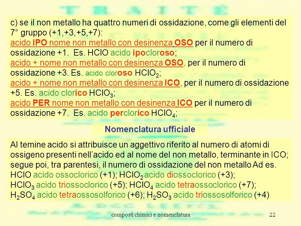 composti chimici e nomenclatura22 c) se il non metallo ha quattro numeri di ossidazione, come gli elementi del 7° gruppo (+1,+3,+5,+7): acido IPO nome