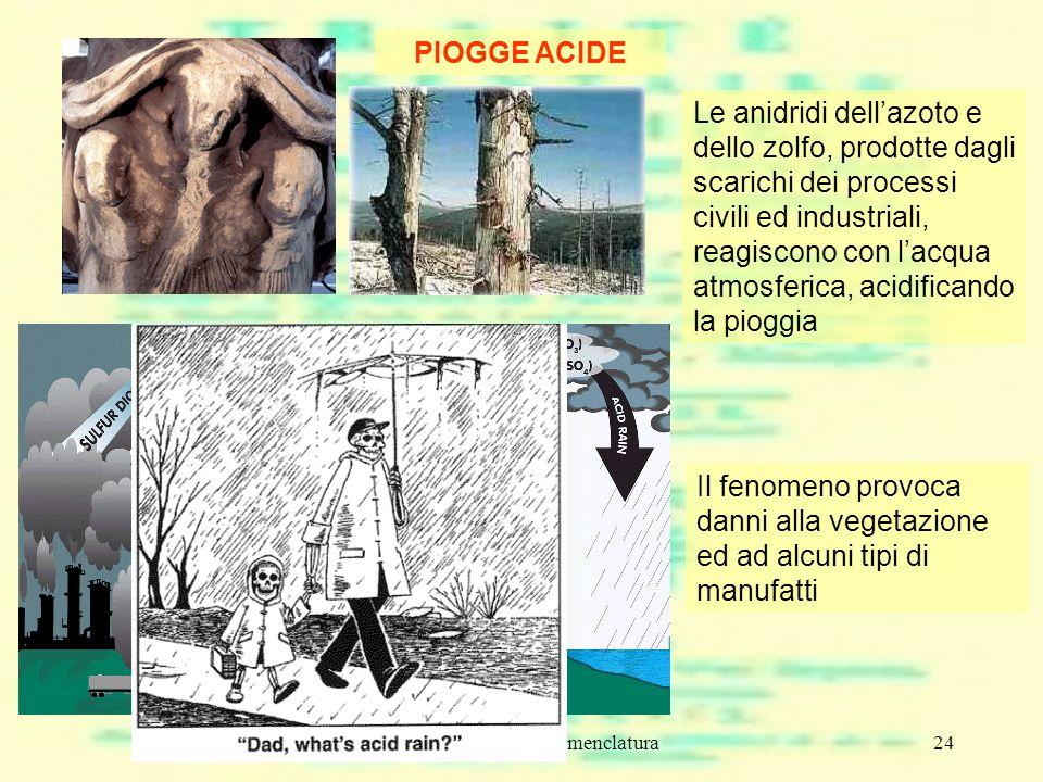 composti chimici e nomenclatura24 PIOGGE ACIDE Le anidridi dellazoto e dello zolfo, prodotte dagli scarichi dei processi civili ed industriali, reagis