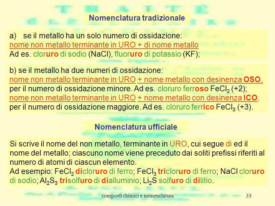 composti chimici e nomenclatura33 Nomenclatura tradizionale a)se il metallo ha un solo numero di ossidazione: nome non metallo terminante in URO + di