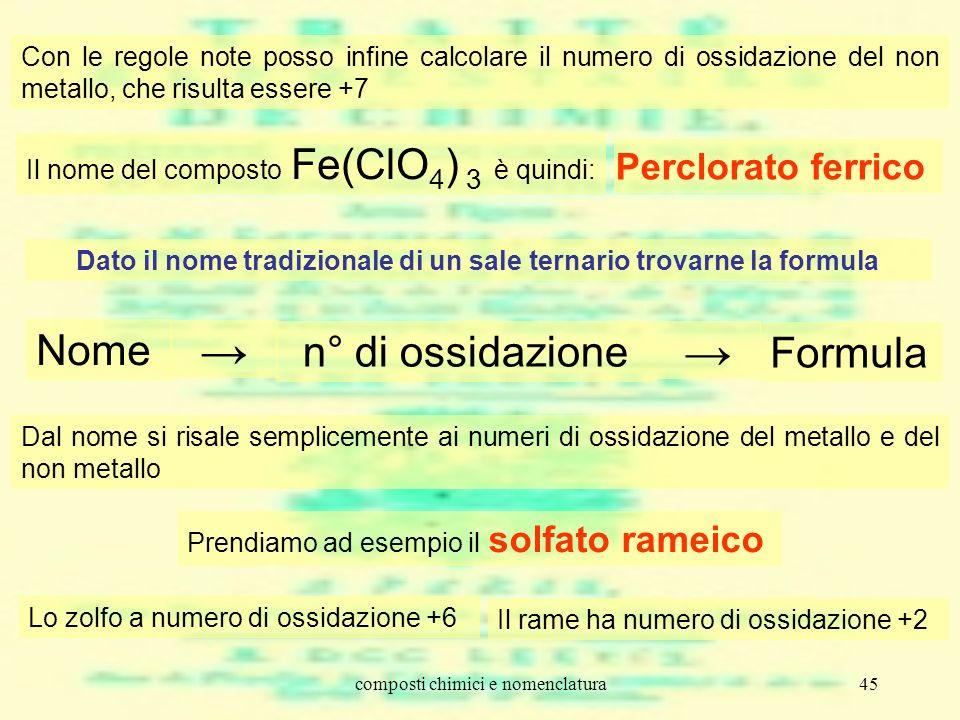 composti chimici e nomenclatura45 Con le regole note posso infine calcolare il numero di ossidazione del non metallo, che risulta essere +7 Il nome de