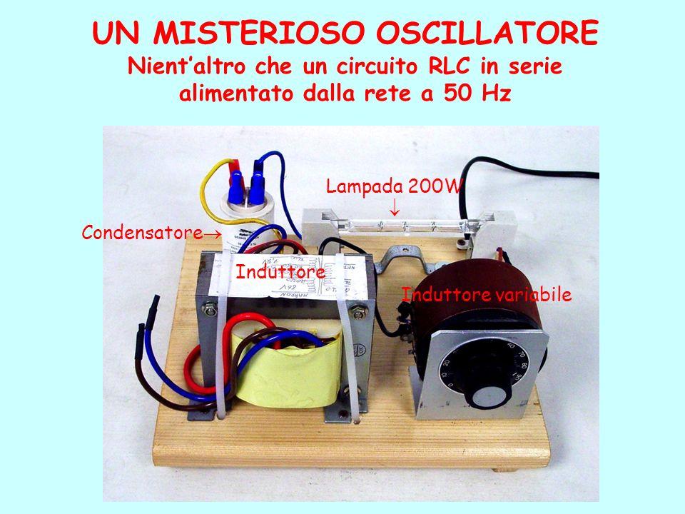 UN MISTERIOSO OSCILLATORE Nientaltro che un circuito RLC in serie alimentato dalla rete a 50 Hz Induttore Induttore variabile Condensatore Lampada 200