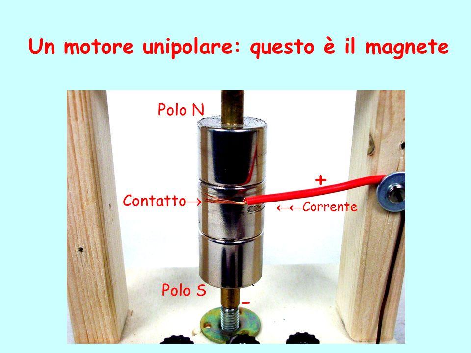 Un motore unipolare: questo è il magnete Polo N Polo S Contatto + - Corrente