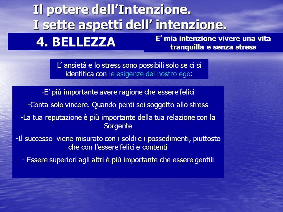 Il potere dellIntenzione. I sette aspetti dell intenzione. 4. BELLEZZA E mia intenzione vivere una vita tranquilla e senza stress L ansietà e lo stres
