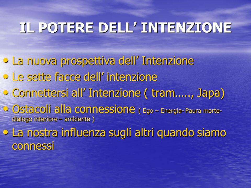 IL POTERE DELL INTENZIONE La nuova prospettiva dell Intenzione La nuova prospettiva dell Intenzione Le sette facce dell intenzione Le sette facce dell