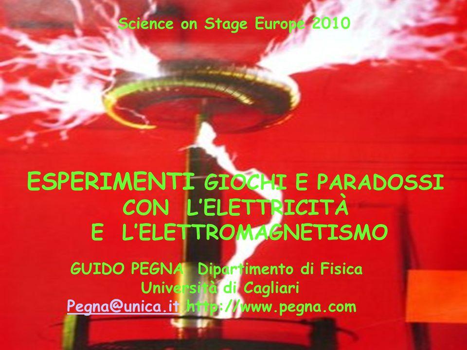 GUIDO PEGNA Dipartimento di Fisica Università di Cagliari Pegna@unica.itPegna@unica.it http://www.pegna.com ESPERIMENTI GIOCHI E PARADOSSI CON LELETTR