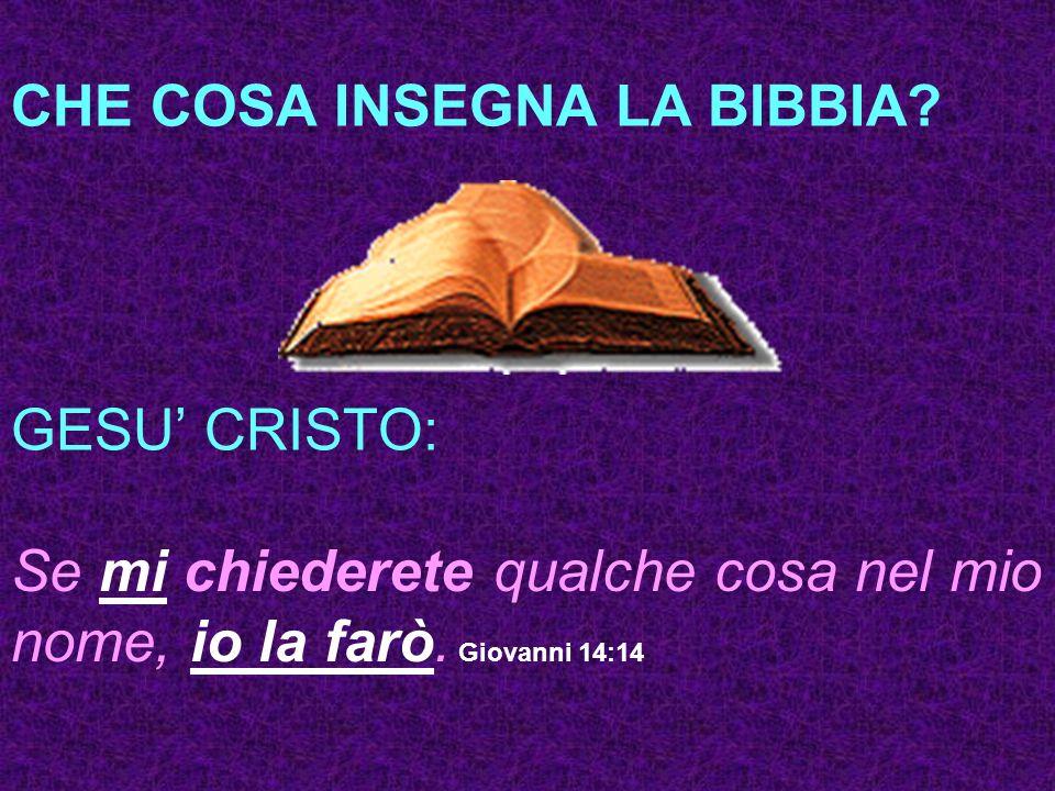 CHE COSA INSEGNA LA BIBBIA? GESU CRISTO: Se mi chiederete qualche cosa nel mio nome, io la farò. Giovanni 14:14