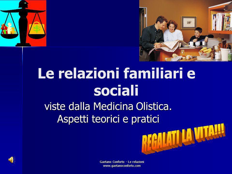 Gaetano Conforto - Le relazioni www.gaetanoconforto.com Le relazioni familiari e sociali viste dalla Medicina Olistica.