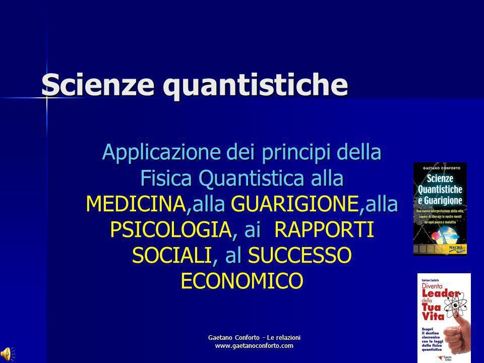 Gaetano Conforto - Le relazioni www.gaetanoconforto.com ARGOMENTI Il Destino Sincronico Le basi scientifiche della quantum leadership Le leggi quantis