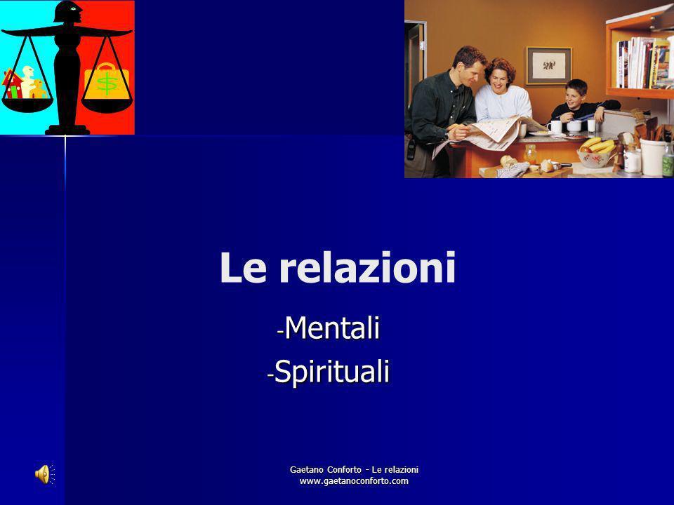 Gaetano Conforto - Le relazioni www.gaetanoconforto.com Le relazioni familiari e sociali viste dalla Medicina Olistica. Aspetti teorici e pratici