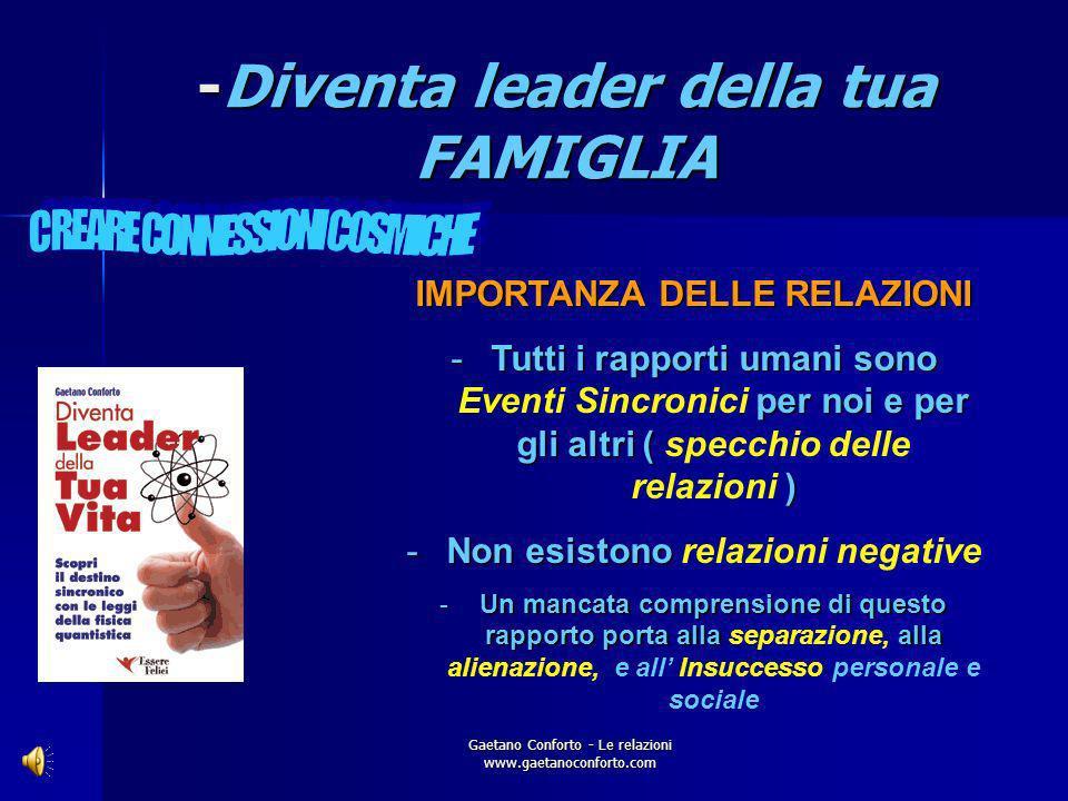 Gaetano Conforto - Le relazioni www.gaetanoconforto.com -Diventa leader della tua FAMIGLIA LE CHIAVI DEL SUCCESSO: al servizio del prossimo e di se st