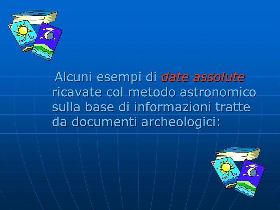 Alcuni esempi di date assolute ricavate col metodo astronomico sulla base di informazioni tratte da documenti archeologici: Alcuni esempi di date asso