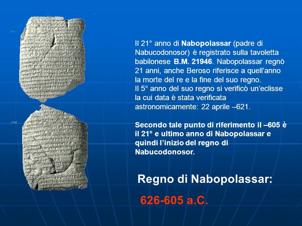 Il 21° anno di Nabopolassar (padre di Nabucodonosor) è registrato sulla tavoletta babilonese B.M. 21946. Nabopolassar regnò 21 anni, anche Beroso rife