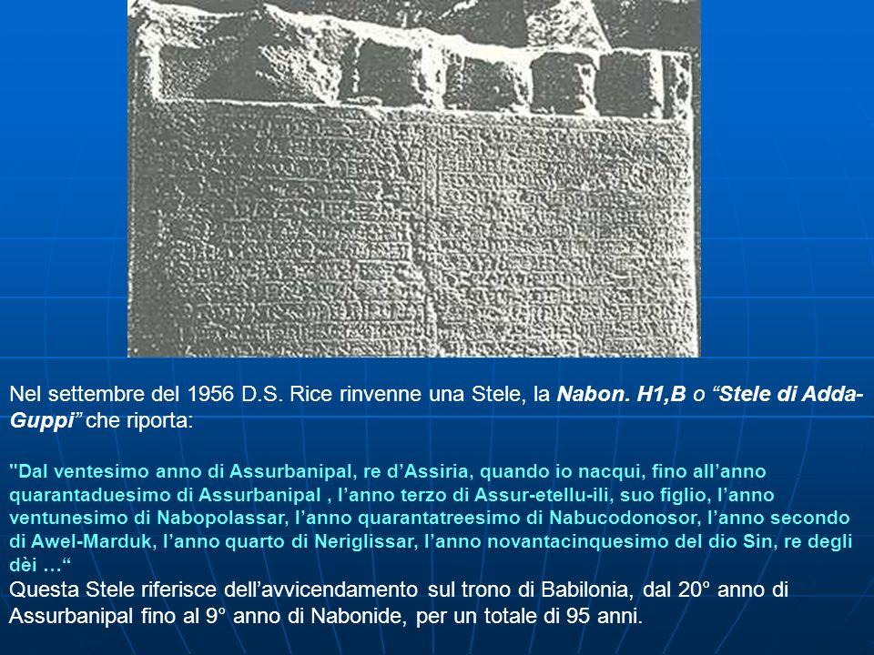 Nel settembre del 1956 D.S. Rice rinvenne una Stele, la Nabon. H1,B o Stele di Adda- Guppi che riporta: