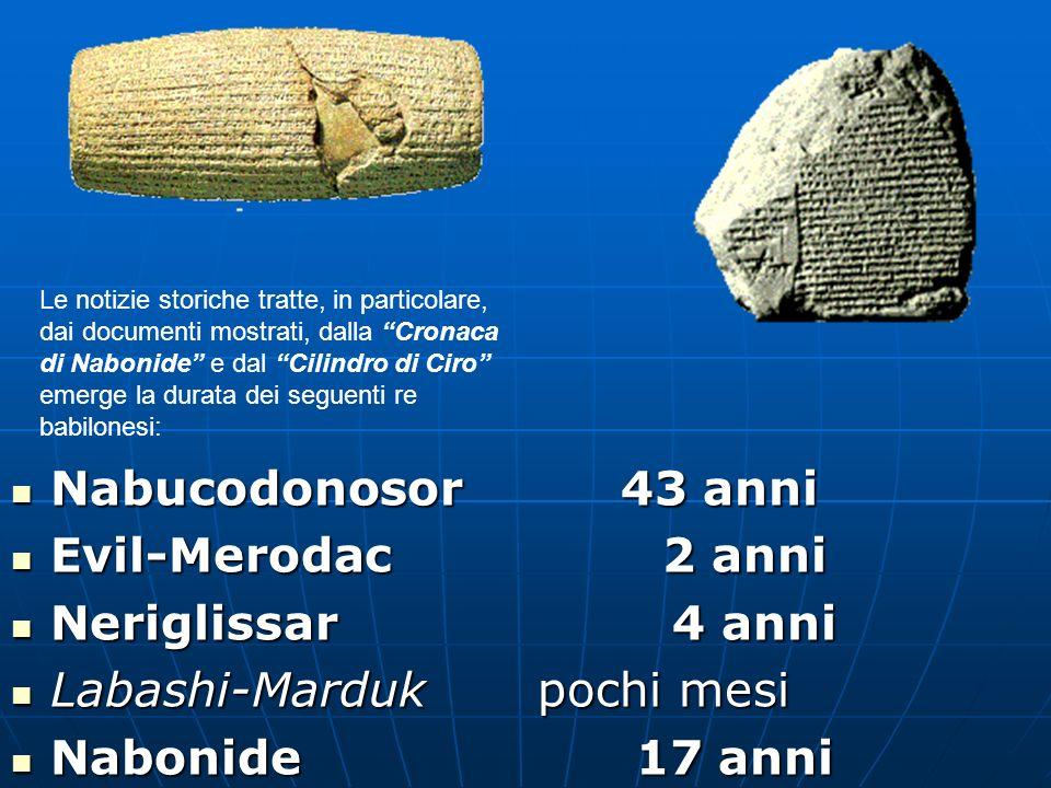 Nabucodonosor 43 anni Nabucodonosor 43 anni Evil-Merodac 2 anni Evil-Merodac 2 anni Neriglissar 4 anni Neriglissar 4 anni Labashi-Marduk pochi mesi La