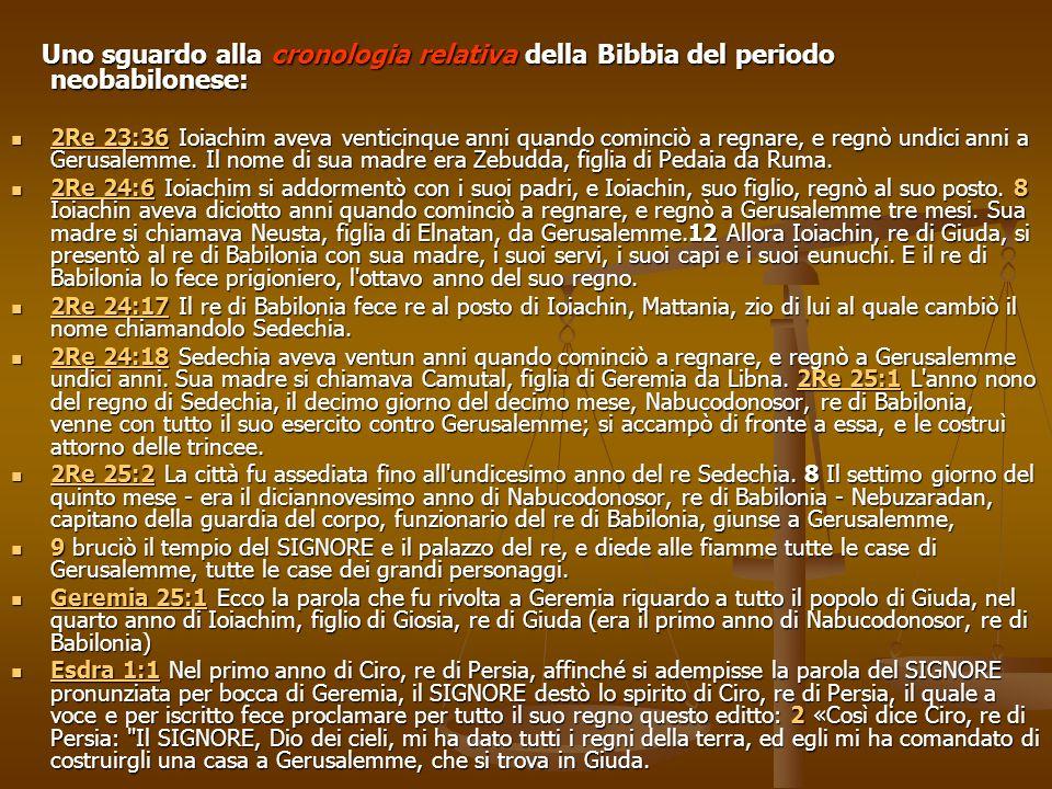 Uno sguardo alla cronologia relativa della Bibbia del periodo neobabilonese: Uno sguardo alla cronologia relativa della Bibbia del periodo neobabilone