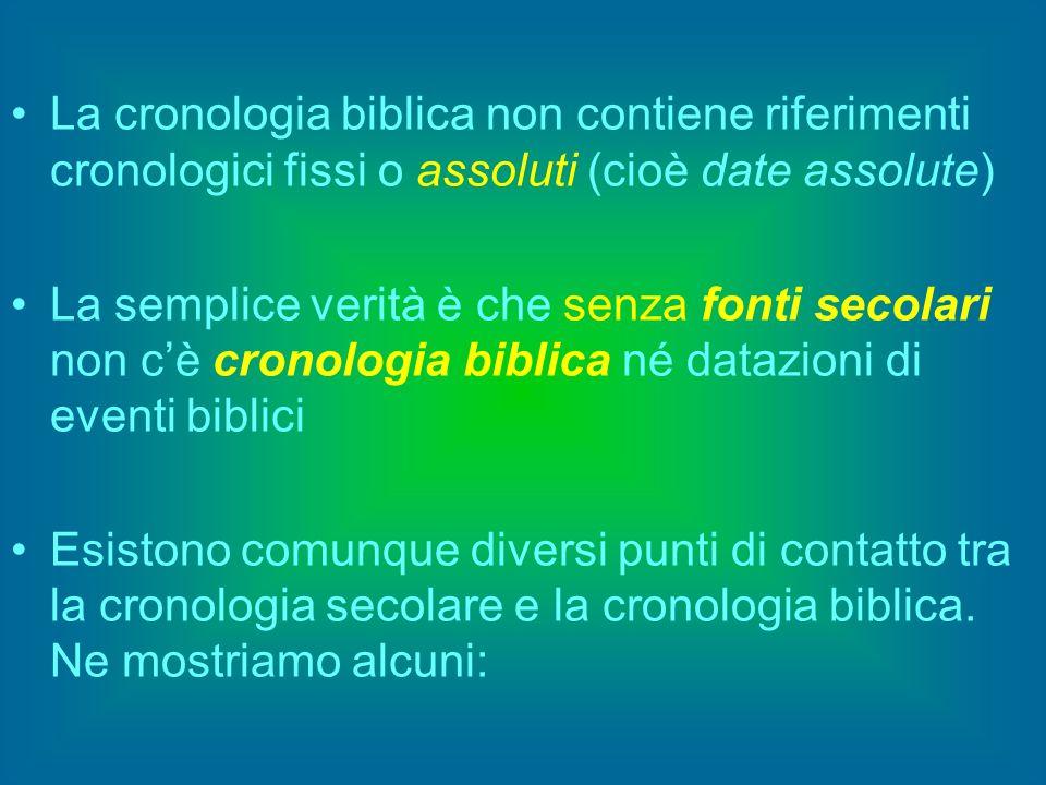 La cronologia biblica non contiene riferimenti cronologici fissi o assoluti (cioè date assolute) La semplice verità è che senza fonti secolari non cè