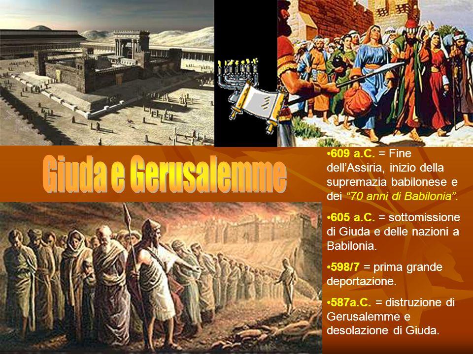 609 a.C. = Fine dellAssiria, inizio della supremazia babilonese e dei 70 anni di Babilonia. 605 a.C. = sottomissione di Giuda e delle nazioni a Babilo