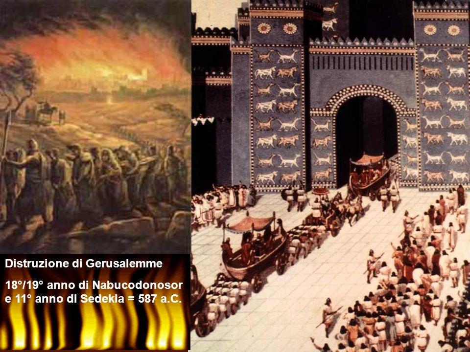 Distruzione di Gerusalemme 18°/19° anno di Nabucodonosor e 11° anno di Sedekia = 587 a.C.
