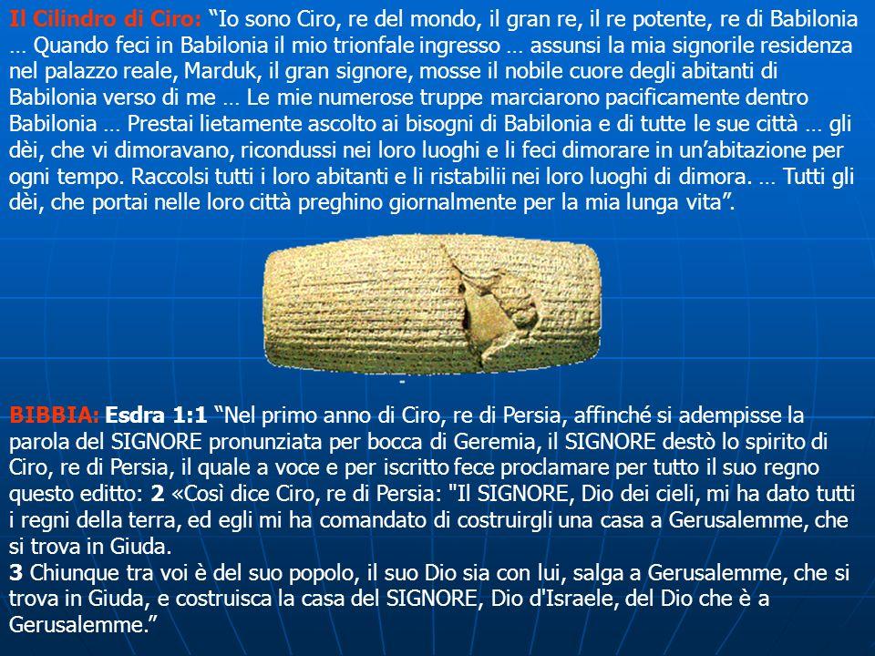 BIBBIA: Esdra 1:1 Nel primo anno di Ciro, re di Persia, affinché si adempisse la parola del SIGNORE pronunziata per bocca di Geremia, il SIGNORE destò