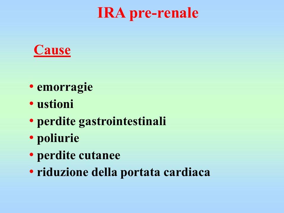 IRA pre-renale emorragie ustioni perdite gastrointestinali poliurie perdite cutanee riduzione della portata cardiaca Cause